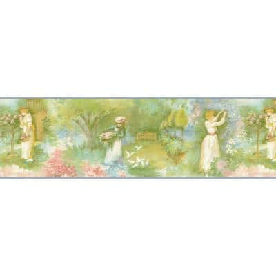 Falkirk Brin II Green, Yellow, Pink, Blue Ladies in Garden Nature Pre-Pasted Wallpaper Border