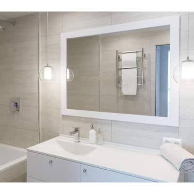 Sanibel 41.75 in. x 53.75 in. Modern Rectangle Framed White Decorative Mirror