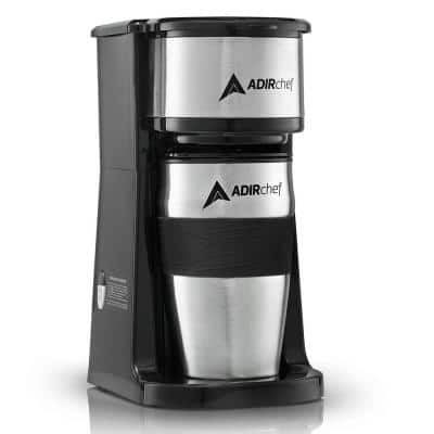 Grab'n Go Black Single Serve Coffee Maker with Stainless Steel Travel Mug