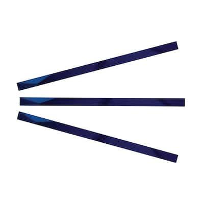24 in. x 1 in. Mirror Blue Glass Pencil Tile Trim (3-Pack)