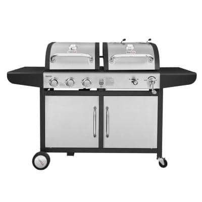 3-Burner Propane Gas and Charcoal Combo Grill