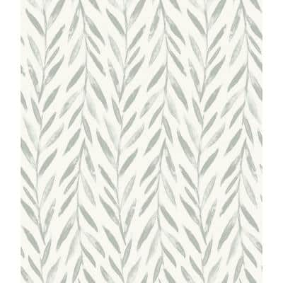 Willow Grey Pre-Pasted Washable Wallpaper Roll (Covers 56 Sq. Ft.)
