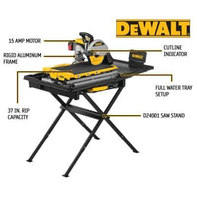 10 in. High Capacity Wet Tile Saw with Stand