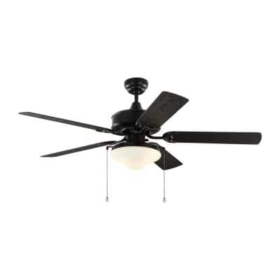 Haven 52 in. Outdoor Matte Black LED Ceiling Fan with Light Kit