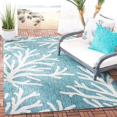 Coral Blue/Gray 5 ft. 3 in. x 7 ft. 6 in. Indoor/Outdoor Area Rug