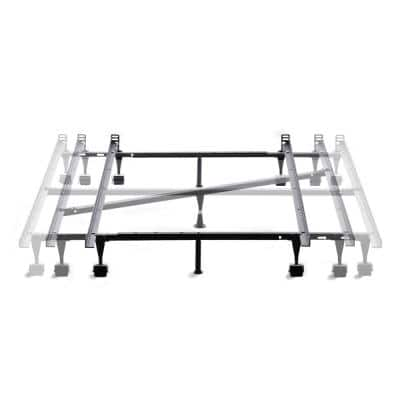 Adjustable Metal Bed Frame with Center Support  Rug Rollers
