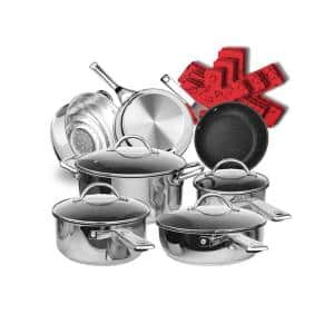17-Piece Mirror Stainless Steel Non-Stick Induction Cookware Set with Germany Durable Multilayer Stone Coating