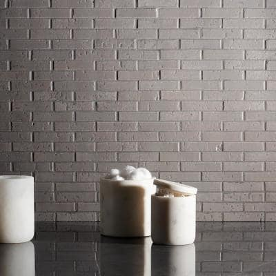 Queen Brick Gray 10.6 in. x 12.75 in. 12mm Matte Clay Mosaic Wall Tile (0.94 sq. ft.)