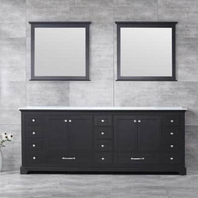 Dukes 84 Inch Double Bathroom Vanity in Espresso with Top and Mirror