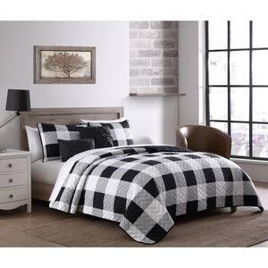 Buffalo Plaid 5-Piece Black/White King Quilt Set with Throw Pillows