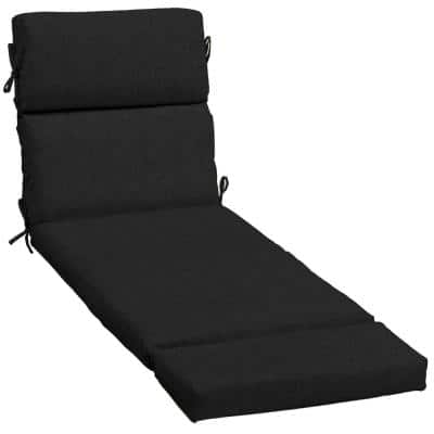 23 x 73 Sunbrella Canvas Black Outdoor Chaise Lounge Cushion