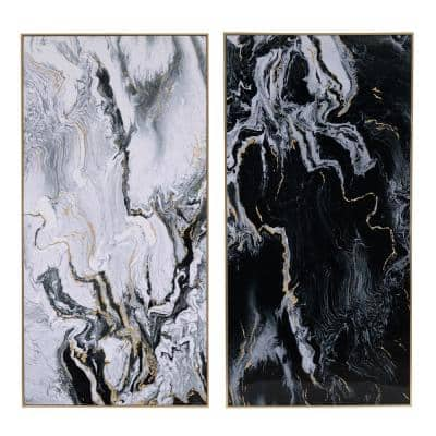 Marbled Multicolor Print with Gold Framed Wall Art (Set of 2)