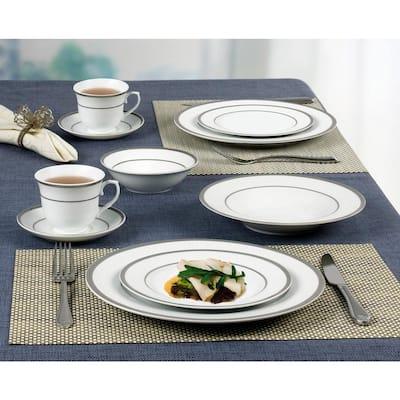 Porcelain set of 4 Teacups Dinner Plates and Soup Plates By Pegasus Dishwasher Safe. Saucers