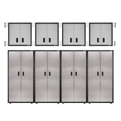8-Piece Steel Garage Storage System in Silver Tread Plate (144 in. W x 100 in. H x 18 in. D)
