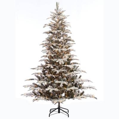 7.5 ft. Pre-Lit Incandescent Aspen Green Fir Flocked Artificial Christmas Tree with 700 UL Clear Lights