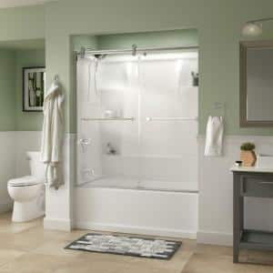 Lyndall 60 x 58-3/4 in. Frameless Contemporary Sliding Bathtub Door in Chrome with Niebla Glass
