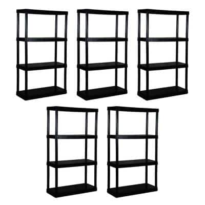 5-Pack Black 4-Tier Plastic Garage Storage Shelving Unit (32 in. W x 55 in. H x 14 in. D)