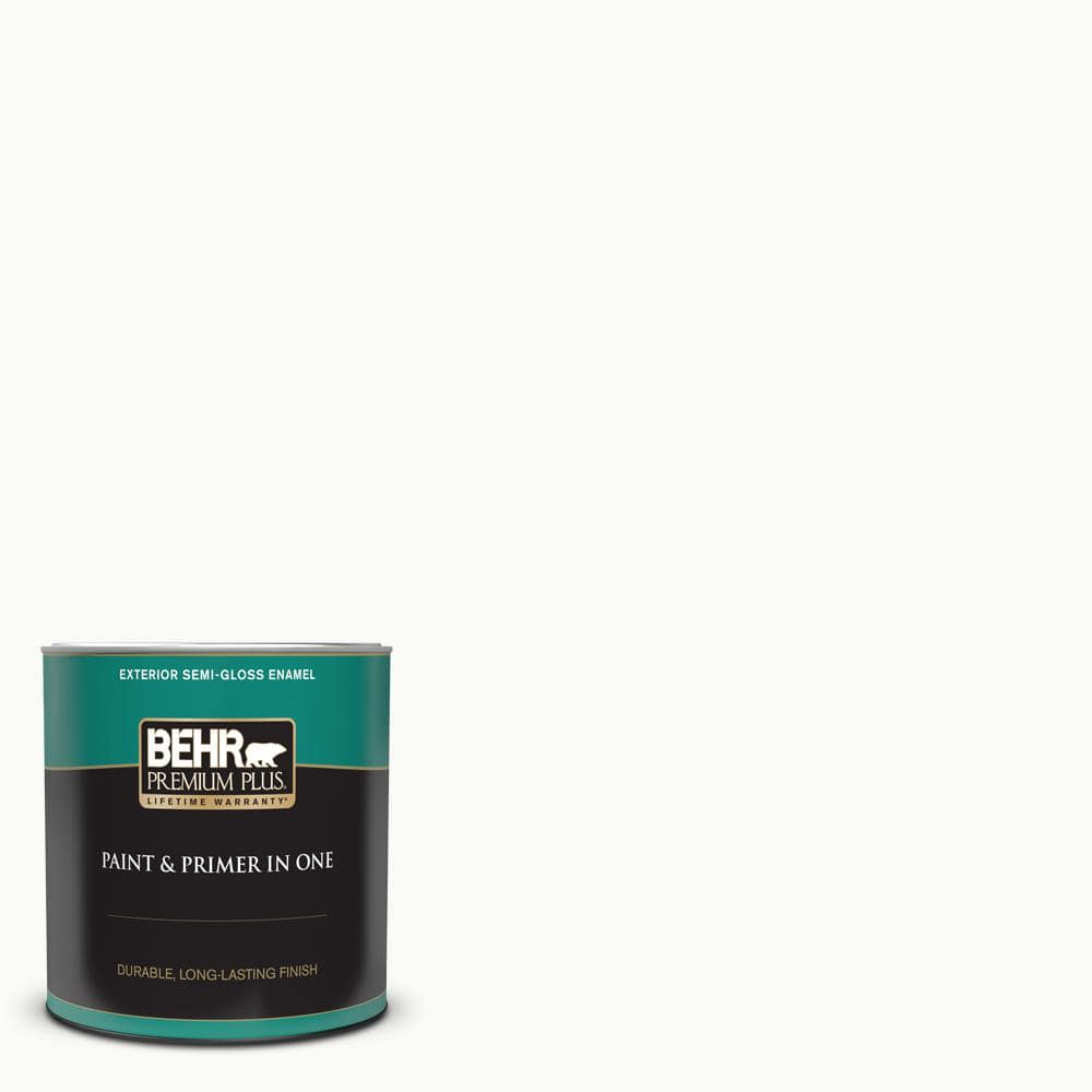 Behr Premium Plus 1 Qt Ultra Pure White Semi Gloss Enamel Exterior Paint And Primer In One 505004 The Home Depot