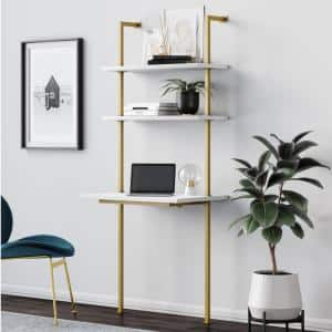 Theo 73 in. White Wood and Gold Brass Metal 2-Shelf Wall-Mount Ladder Writing Desk Table Small Computer Table Bookcase