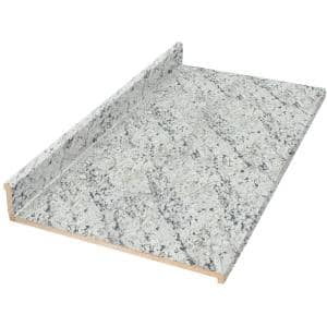 6 ft. Cream Laminate Countertop with Eased Edge in White Ice Granite With Backsplash