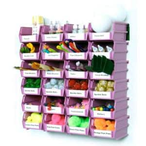 LocBin Small Wall Storage Bin (24-Piece) with 2-Wall Mount Rails in Orchid