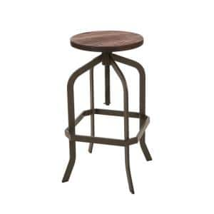 S/2 26.18 in. H Brown Metal Revolving Stool With Solid Wood Seat