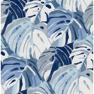 Samara Blue Monstera Leaf Paper Strippable Roll (Covers 56.4 sq. ft.)