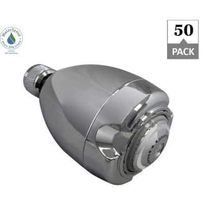Earth 3-Spray 2.7 in. Single Wall Mount Fixed 1.5 GPM Shower Head in Chrome (50-Pack)