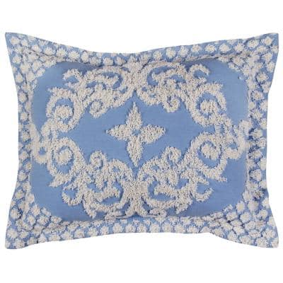 Florence Collection in Medallion Design Blue Standard 100% Cotton Tufted Chenille Sham