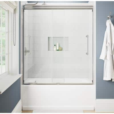 Ashmore 60 in. W x 60-3/8 in. H Sliding Frameless Bathtub Door in Chrome with 5/16 in. (8 mm) Clear Glass