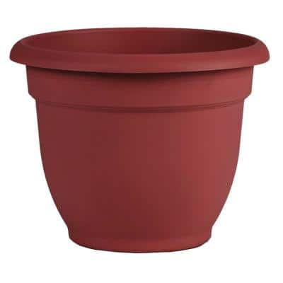 Ariana 8.75 in. Burnt Red Plastic Self-Watering Planter