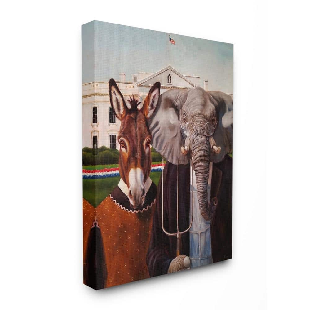 Multi-Color 24 x 30 Stupell Industries Political Satire American Gothic Farm Animal Painting Canvas Wall Art