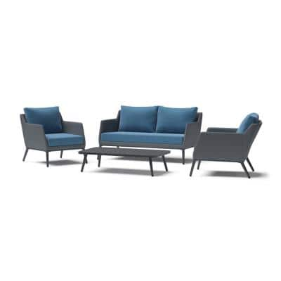 Gaveni 4-Piece Seating Steel Patio Conversation Set with Blue Cushions