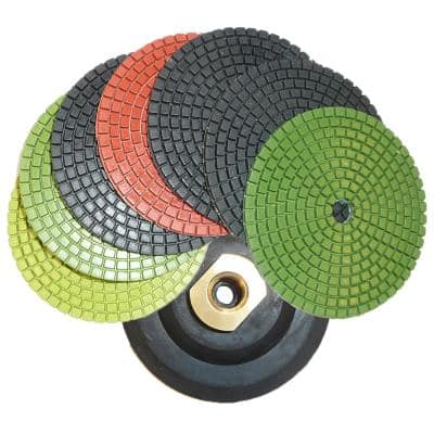 4 in. JHX Wet Diamond Polishing Pads for Granite/Concrete (Set of 7) with 4 in. Semi-Rigid Back Holder