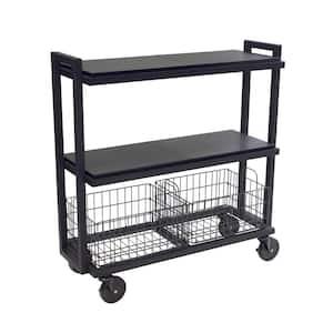 3-Tier Steel Cart System Wide in Black