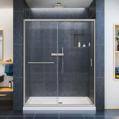 Infinity-Z 50-54 in. W x 72 in. H Semi-Frameless Sliding Shower Door in Brushed Nickel