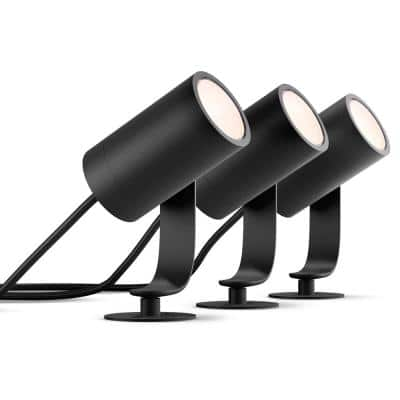 White and Color Ambiance Low Voltage Outdoor LED Lily Black Landscape Smart Lights (3 Pack)