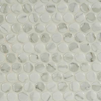 Carrara Penny Round 12 in. x 12 in. x 6mm Matte Porcelain Mesh-Mounted Mosaic Tile (1 sq. ft.)