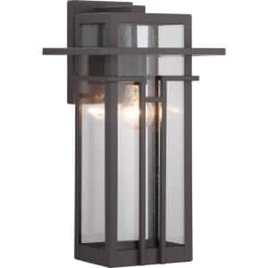 Boxwood Collection 1-Light Antique Bronze Clear Seeded Glass Craftsman Outdoor Large Wall Lantern Light