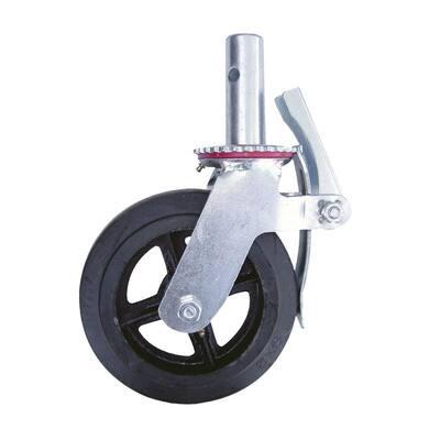 8 in. Scaffolding Caster Wheel in Heavy Duty Zinc/Aluminum Coated Steel with Safety Dual Lock Brake
