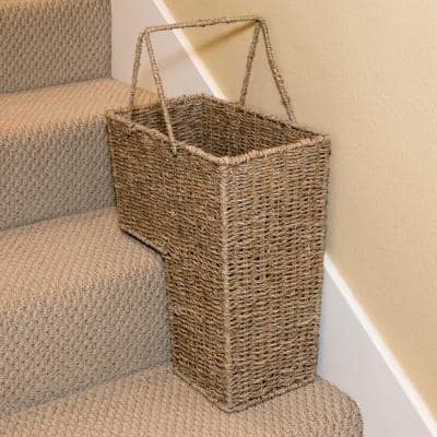 15 in. Wicker Storage Stair Basket with Handles