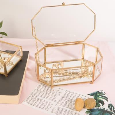 Vintage Mirrored in Gold Bottom Octagonal Glass Keepsake Box