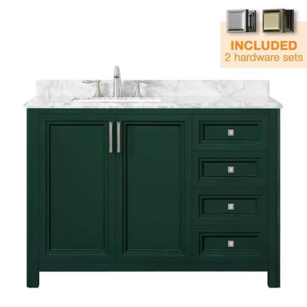 Home Decorators Collection Sandon 48 In W X 22 In D Bath Vanity In Emerald Green With Marble Vanity Top In Carrara White With White Basin Sandon 48eg The Home Depot