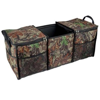 3-Compartments Collapsible Cooler Storage Trunk Organizer for SUV, Vehicle, Truck, Auto in Camo