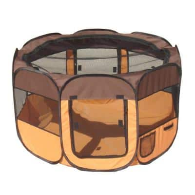 All-Terrain Lightweight Easy Folding Wire-Framed Collapsible Travel Dog Playpen - Brown/Orange - MD