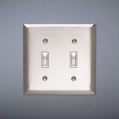 Pass & Seymour 302/304 S/S 2 Gang 2 Toggle Jumbo Wall Plate, Stainless Steel (1-Pack)