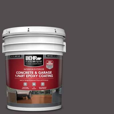 5 gal. #N570-7 Black Elegance Self-Priming 1-Part Epoxy Satin Interior/Exterior Concrete and Garage Floor Paint