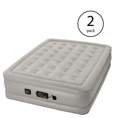 """Raised 19"""" Queen Air Mattress Airbed with Built In Air Pump (2 Pack)"""