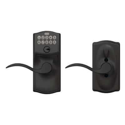 Keypad Door Lever with Camelot Trim and Accent Lever with Flex Lock in Matte Black