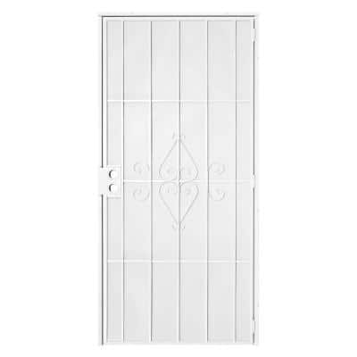36 in. x 80 in. Su Casa White Surface Mount Outswing Steel Security Door with Expanded Metal Screen